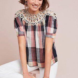 Anthropologie Maeve Crochet Plaid Swing Top XS